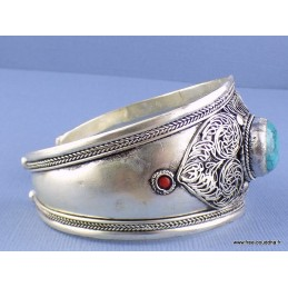 Gros bracelet tibétain filigrane en Turquoise + pierres Bijoux tibetains bouddhistes  ref 157