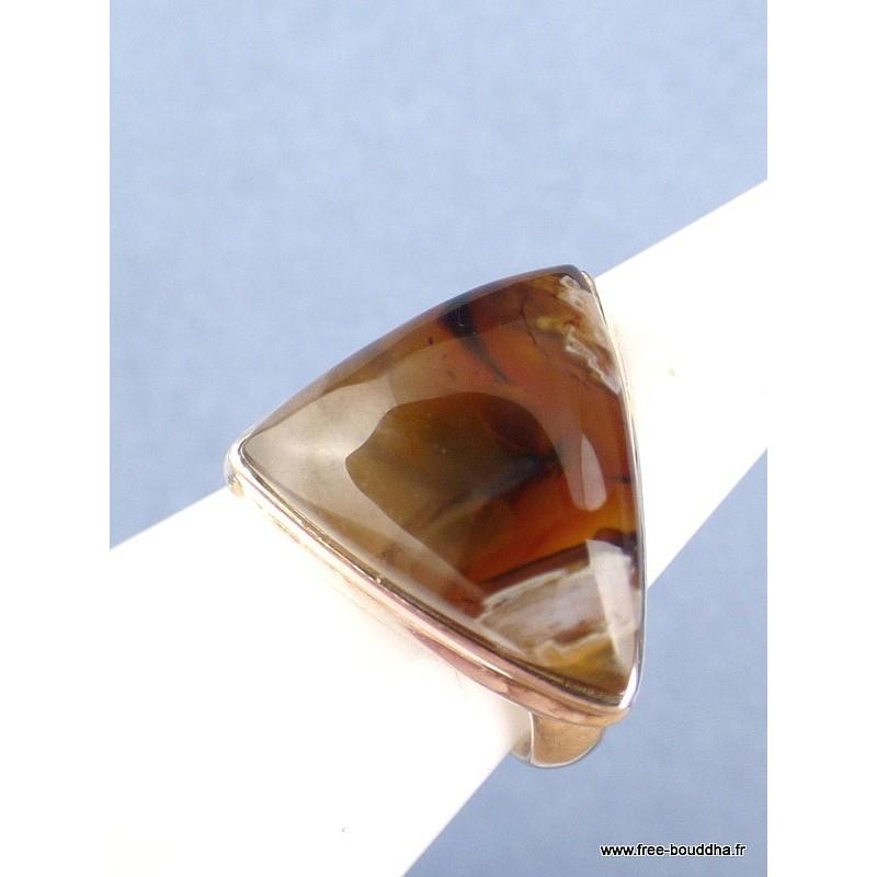 Bague triangle AGATE TUBULAIRE T 58 Bagues pierres naturelles JA55.1