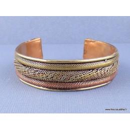 Bracelet tibétain torsadé cuivre et laiton Bijoux tibetains bouddhistes  ref 02.11
