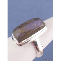 Bague Labradorite pourpre rectangulaire T 55 Bagues pierres naturelles CZ93.1