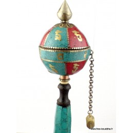 Moulin à prières bouddhiste forme boule 20,5 cm ref 12.4