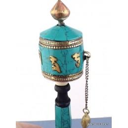 Moulin à prières tibétain en Turquoise 16 cm 6111.15
