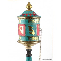 Moulin à prières bouddhiste mantra de Chenrezi 30 cm ref 12.1