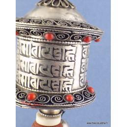 Moulin à prière bouddhiste en métal blanc 26 cm 6404.7