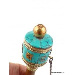 Mini moulin à prières tibétain à main Objets rituels bouddhistes 6111.4