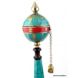 Moulin à prières bouddhiste boule Yeux du Bouddha 20,5 cm ref 12.5