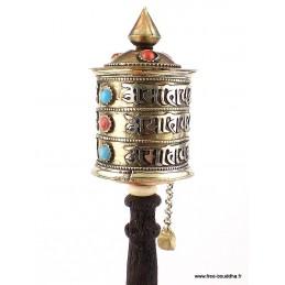 Moulin à prières tibétain 3 rangs de mantras 20 cm MAPZ19