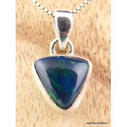 Exceptionnelle Opale noire de Calama bleue verte Bijoux en Opales TUV42.1