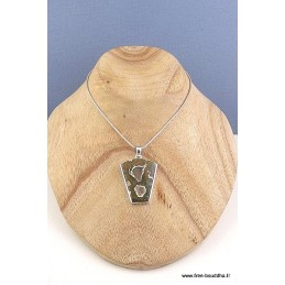 Rhyolite pendentif argent forme blason Pendentifs pierres naturelles CZ73