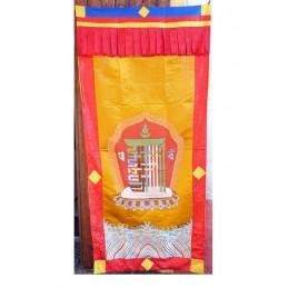 Rare tenture bouddhiste bhoutanaise en soie sauvage TENBO2