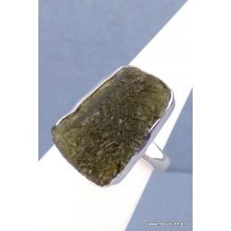 Bague Moldavite brute fait main T 55/56 Bagues pierres naturelles RV61.10