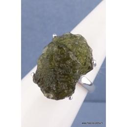 Moldavite bague asymétrique T 59 Bagues pierres naturelles CZ48.2