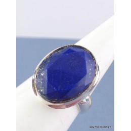 Bague ovale Lapis Lazuli facetté T 52 Bagues pierres naturelles TUV60.1