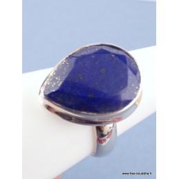 Lapis lazuli bague argent forme goutte facettée T 59 Bagues pierres naturelles TUV60.2