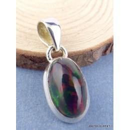 Exceptionnelle Opale noire de Calama verte rouge Bijoux en Opales TUV42.2