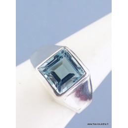 Bague Topaze bleue facettée carrée T 54 Bijoux en Topaze  KB39.3