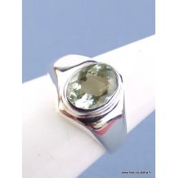 Bague Aigue-marine facettée verte T 55 Bagues pierres naturelles RV59.9