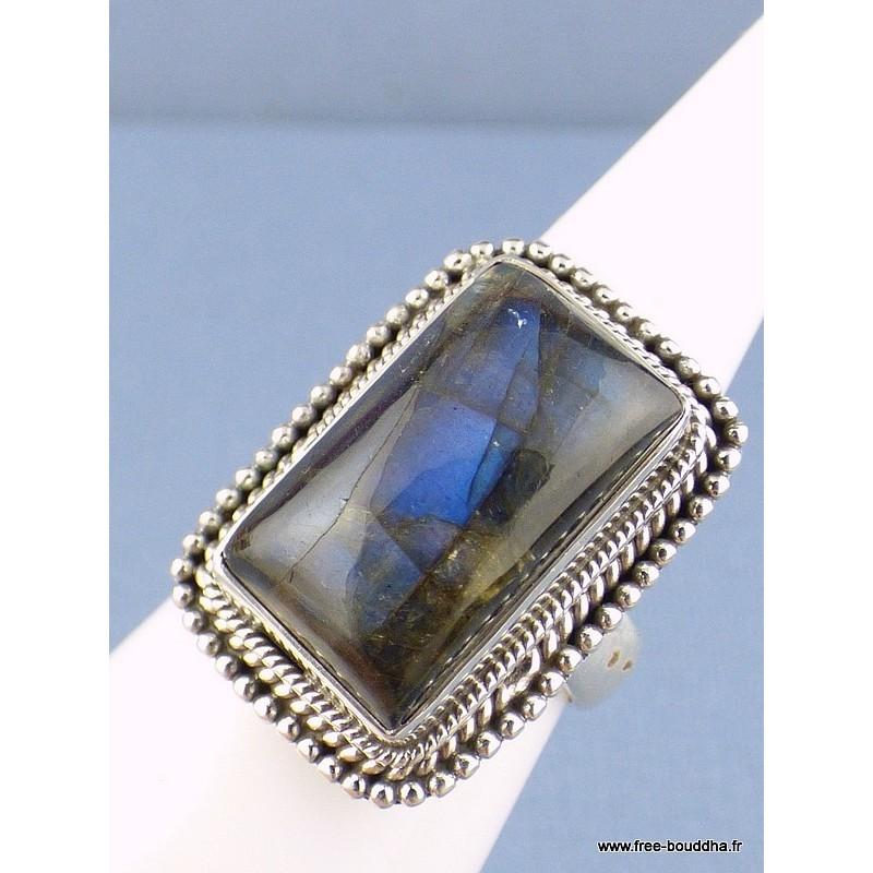 Bague argent Labradorite bleue T 55 Bagues pierres naturelles AV68.5