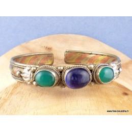 Bracelet tibétain cuivre et laiton améthyste et Onyx vert Bijoux tibetains bouddhistes  AST5