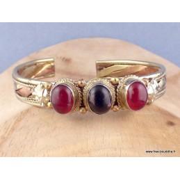 Bracelet tibétain tressé cuivre laiton onyx cornaline Bijoux tibetains bouddhistes  AST5.2