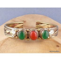 Bracelet tibétain tressé cuivre laiton Corail Onyx vert Bijoux tibetains bouddhistes  AST5.5