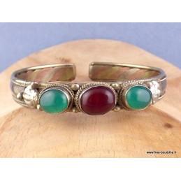Bracelet bouddhiste Cornaline Onyx vert Bijoux tibetains bouddhistes  AST5.8