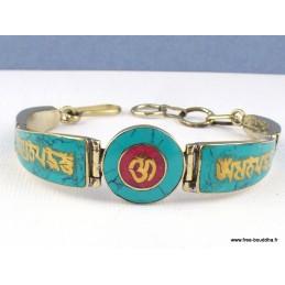 Bracelet bouddhiste Mantra de Chenrezi imitation turquoise Bijoux tibetains bouddhistes  BT46.7