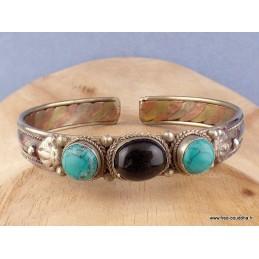 Bracelet bouddhiste Onyx noir et Turquoise Bijoux tibetains bouddhistes  AST5.9