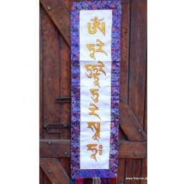Tenture tibétaine bannière Mantra de Tara couleur blanche MTARA2
