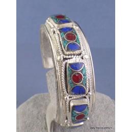 Bracelet tibétain jonc metal et pierres Bracelets tibétains bouddhistes BM41