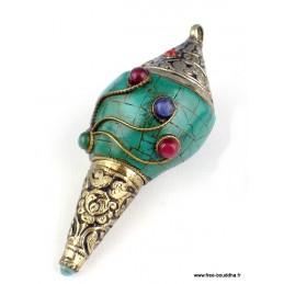 Conque tibétaine bouddhiste sertie de turquoise naturelle ref 4046.10