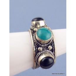 Bague tibétaine 3 pierres Turquoise Onyx T 56 à 60 Bagues pierres naturelles ref201.4