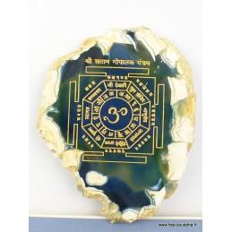 Décoration bouddhiste Mandala sur Agate naturelle MAND2