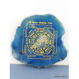 Décoration bouddhiste Mandala sur Agate naturelle bleue MAND3