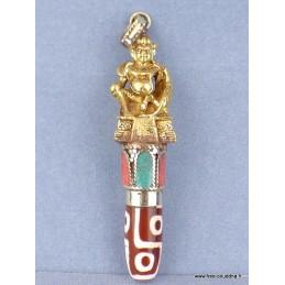 Pendentif tibétain Dieu indien perle de Dzi Bijoux tibetains bouddhistes  ref 4178.2