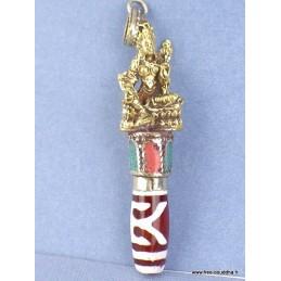 Pendentif tibétain Tara Verte perle de Dzi Bijoux tibetains bouddhistes  ref 4178.3