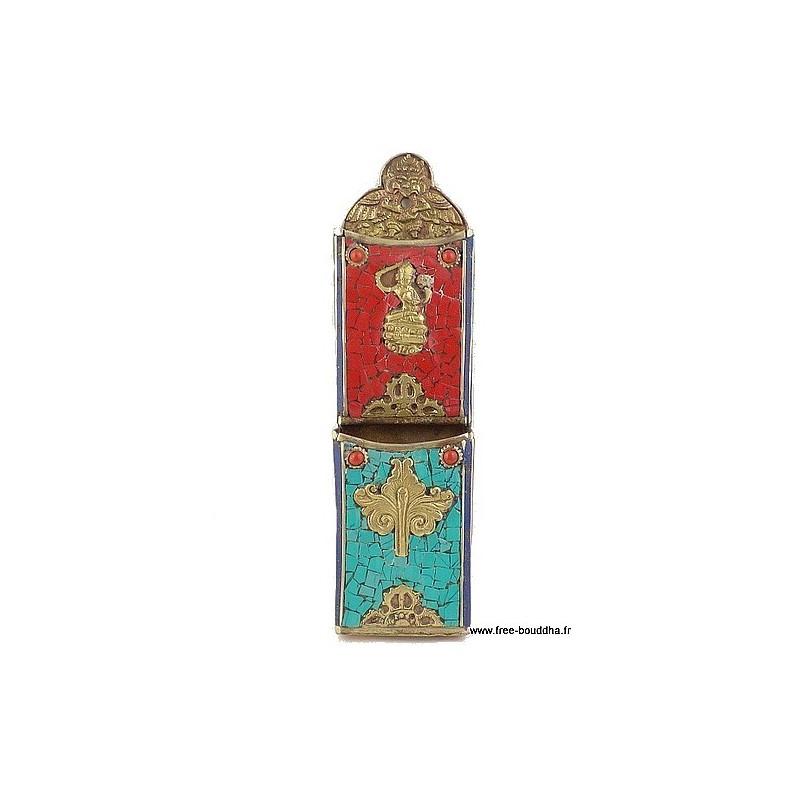 Porte-stylos tibétain métal et pierres PST1