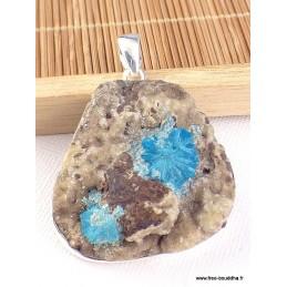 Pendentif deux cristaux de Cavansite sur roche-mère Pendentifs pierres naturelles WL65.4
