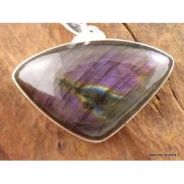 Labradorite pourpre pendentif argent triangulaire Pendentifs pierres naturelles TUV73.1