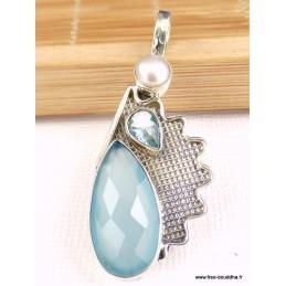 Pendentif Calcédoine bleue facettée et topaze Pendentifs pierres naturelles TUV74.10
