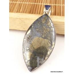 Pendentif Pyrite sur Agate forme marquise Pendentifs pierres naturelles PAC2