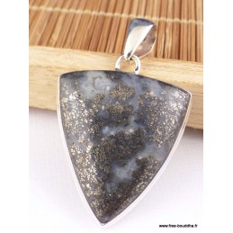 Pendentif Pyrite sur Agate triangulaire Pendentifs pierres naturelles PAC2.1