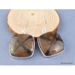 Boucles d'oreilles Chiastolite carrées Bijoux en Chiastolite PAC25