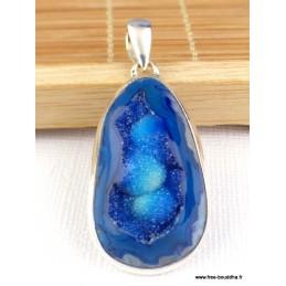 Pendentif druze d'Agate bleu foncé Pendentifs pierres naturelles PAC40.1