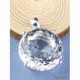 Pendentif en Cristal de Roche rond facetté Pendentifs pierres naturelles PAC51.2