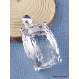 Pendentif en Cristal de Roche rectangulaire facetté Pendentifs pierres naturelles PAC51.3