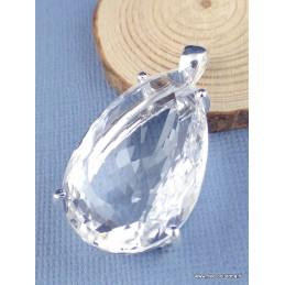 Gros pendentif goutte en Cristal de Roche facetté Pendentifs pierres naturelles PAC51.4
