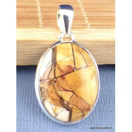 Pendentif Jaspe Breschia forme ovale Pendentifs pierres naturelles PAC54