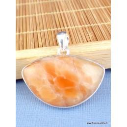 Pendentif Calcite Orange semi-ovale Pendentifs pierres naturelles PAC55