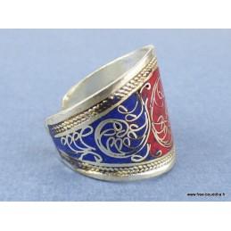 Bague tibétaine filigrane rouge bleu Bijoux tibetains bouddhistes  REF210.3